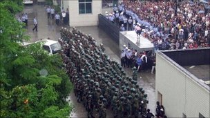 Protests in Hubei (Photo Courtesy of BBC)