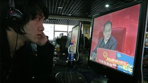 Man in Beijing internet cafe