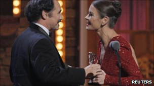 Mark Rylance picks up his award from Catherine Zeta Jones