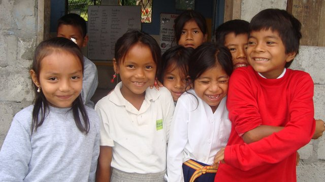 Pupils at a school in the Amazon