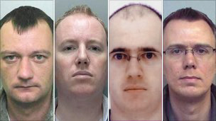 (left - right) Ian Frost, 35, Paul Rowland, 34, Paul Frost, 37, and Ian Sambridge, 32