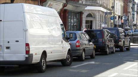 Vehicles parked on double yellow lines in Terrace Road, Aberystwyth