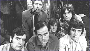 Cast on Monty Python: Michael Palin far right