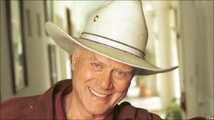 Larry Hagman wearing a stetson