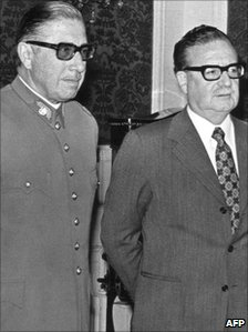 Gen Augusto Pinochet (left) and President Salvador Allende (right) in a file photo from August 1973