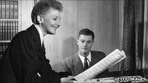 Mary Martin at piano with son Larry Hagman in 1951