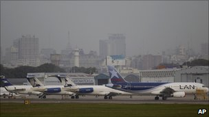 Planes sit at Jorge Newbery airport