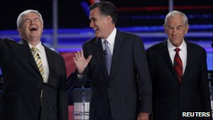 Newt Gingrich, Mitt Romney and Ron Paul at the first New Hampshire debate of the 2012 campaign