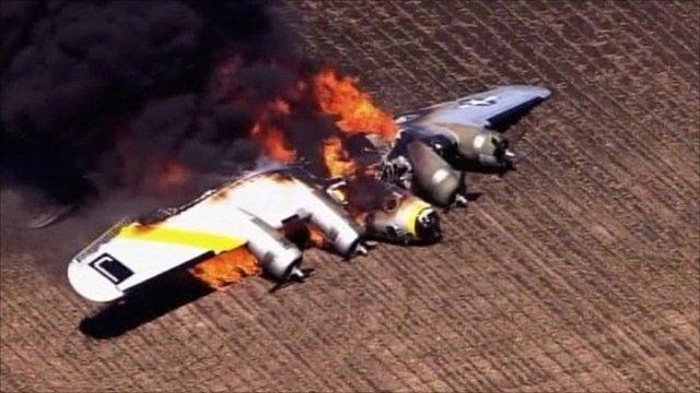 B17 plane on fire