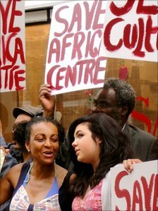 Protesters outside the Africa Centre in London