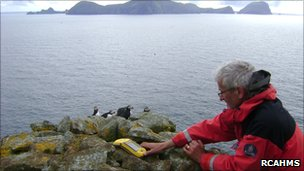 Survey team member Ian Parker on Boreray