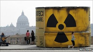 A giant mock nuclear waste barrel built by anti-nuclear protesters stands in central Rome, 7 June