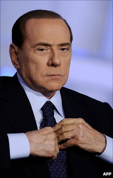 Italian Prime Minister Silvio Berlusconi attends a television programme in Rome, 25 May