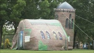 inflatable church goes to schools
