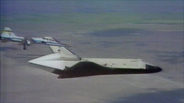 Enterprise on test flight above California desert