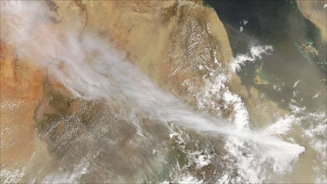 A long-dormant volcano has erupted on 12 June 2011 in Eritrea sending clouds of ash over parts of East Africa