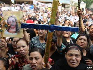 Coptic Christians protest against attacks by Muslims in Cairo (15 May 2011)