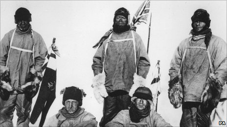 Standing, left to right - Capt Lawrence Oates, Capt Robert Falcon Scott, PO Edgar Evans. Seated, left to right - Lt Henry (Birdie) Bowers, Dr Edward Adrian Wilson