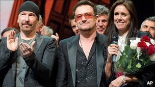 The Edge, Bono and Julie Taymor