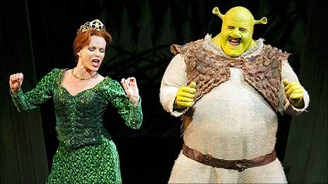 Amanda Holden and Nigel Lindsay in Shrek the Musical
