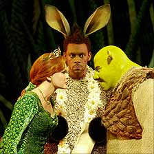 Amanda Holden, Richard Blackwood and Nigel Lindsay in Shrek the Musical