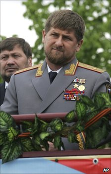 Chechen President Ramzan Kadyrov (foreground) at the Victory Day parade in Grozny, 9 May