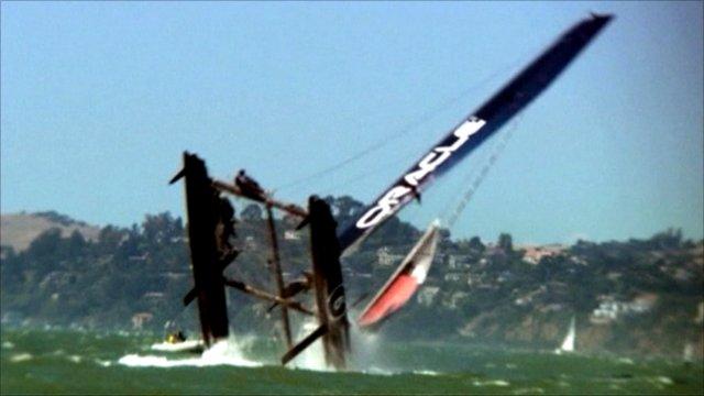 Oracle catamaran capsizing