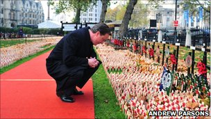 David Cameron in the Field of Remembrance at Westminster Abbey, 2009