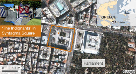 Map showing Syntagma Square