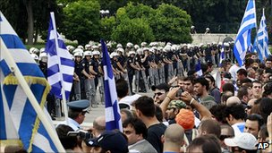 Greek protesters face police in Athens, 15 Jun 11