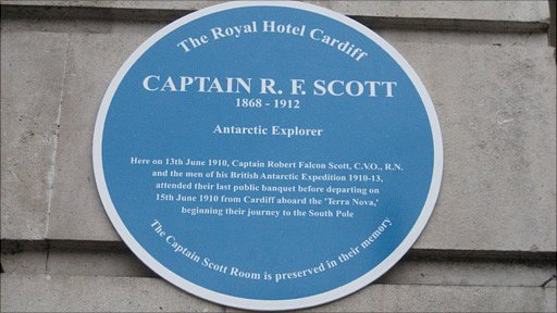 The plaque outside the hotel