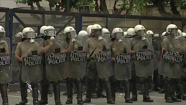 Police line in Athens