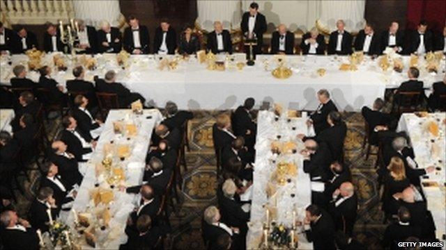 George Osborne addressing the black tie Mansion House dinner
