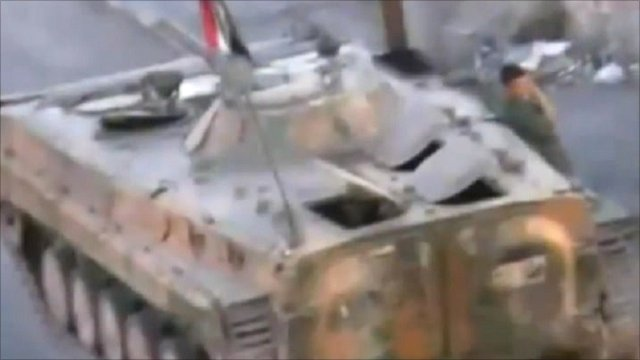 Unverified footage said to show tanks in the Syrian city of Deraa