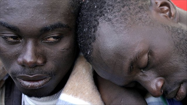 Two migrants in the Red Cross shelter at Los Burros of Las Galletas on the Canary Island of Tenerife, Spain. (file photo)