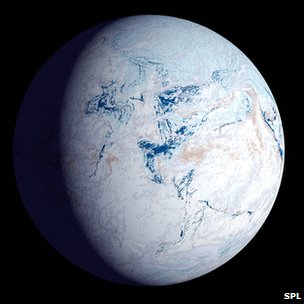 Representation of Earth covered in ice