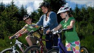 Family mountain biking