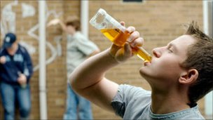 Young person drinking