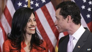 Anthony Weiner speaking to his wife, Huma Abedin