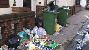 Rubbish outside apartments in Southampton city centre
