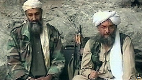 Osama Bin Laden, left, with Ayman al-Zawahiri (file image)