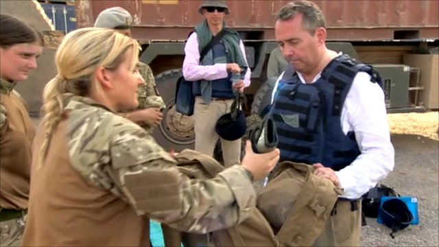 Liam Fox with British troops in Afghanistan