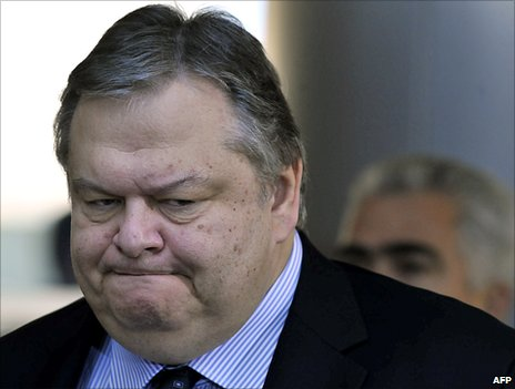 Evangelos Venizelos in his previous role of Greek defence minister (image from 2010)