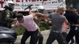 rioters in Greece