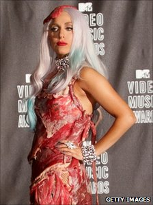 Lady Gaga in her dress made of beef cuts