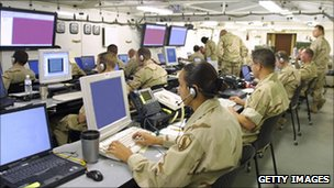 Soldiers at computer screens