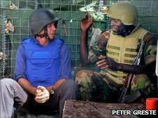 Peter Greste with an African Union soldier