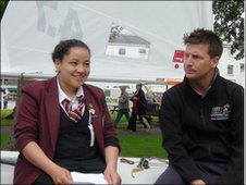 School Reporter interviewing sailing coach