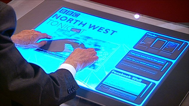 Gordon Burns testing the BBC North West Tonight touch screen