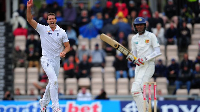 Chris Tremlett celebrates one of his six wickets in the third Test against Sri Lanka